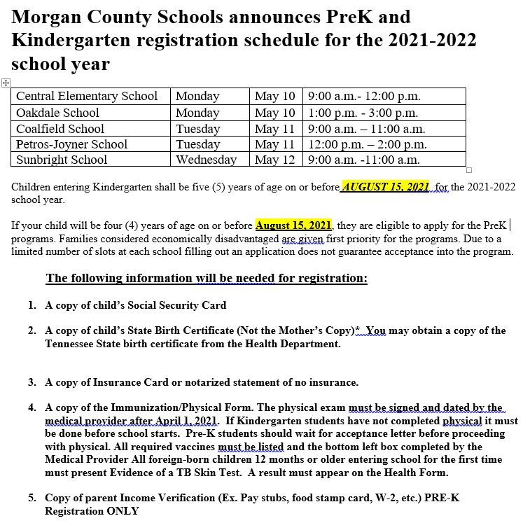 Kindergarten Registration Schedule for the 2021-2022 School Year