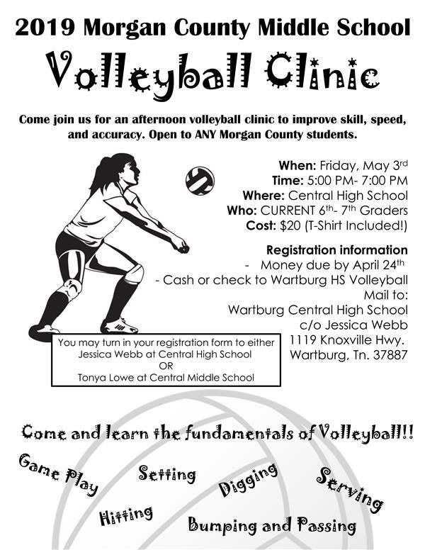2019 Morgan County Middle School Volleyball Clinic