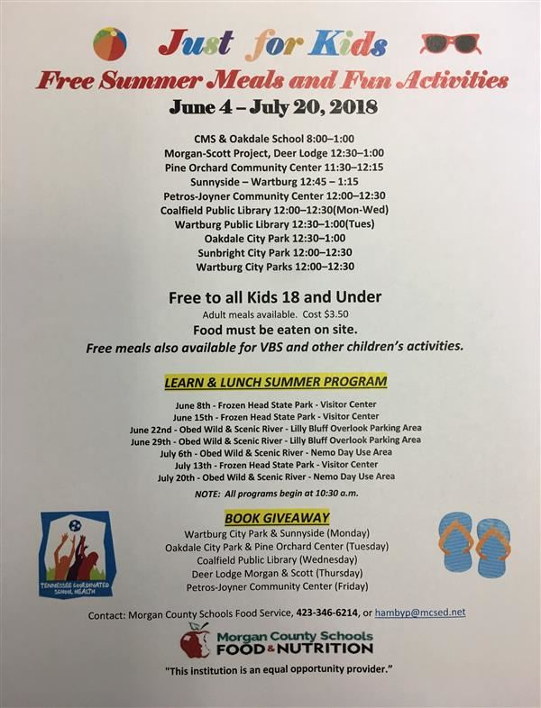 Morgan County Schools Summer Feeding Flyer